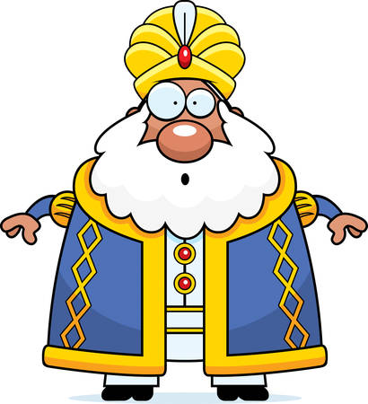 A cartoon illustration of a sultan looking surprised.