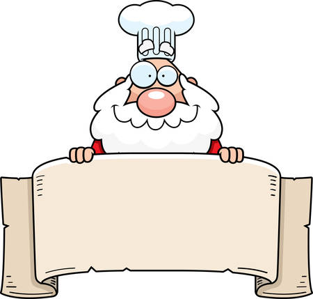 A cartoon illustration of a Santa Claus chef holding a banner. Ilustracja