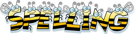A cartoon illustration of the text Spelling with a bee theme. Ilustração