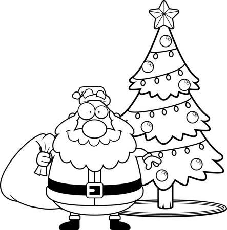 christmas tree illustration: A cartoon illustration of Santa Claus with a Christmas tree.