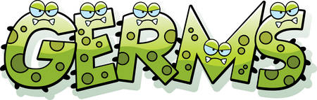 A cartoon illustration of the text Germs with a germ theme. Illustration