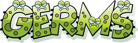 Un fumetto illustrazione dei germi di testo con un tema di germe. Vettoriali
