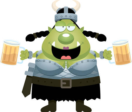 drunk cartoon: A cartoon illustration of an orc drinking beer.