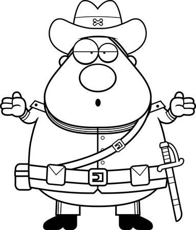 civil war: A cartoon illustration of a Civil War Confederate soldier looking confused. Illustration