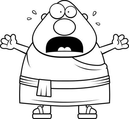 Eine Karikaturillustration der ein buddhistischer Mönch suchen Angst. Standard-Bild - 44474876