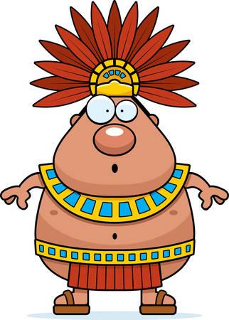 astonish: A cartoon illustration of an Aztec King looking surprised.