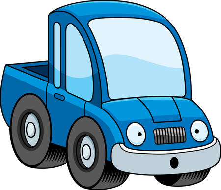 pickup truck: A cartoon illustration of a pickup truck looking surprised.