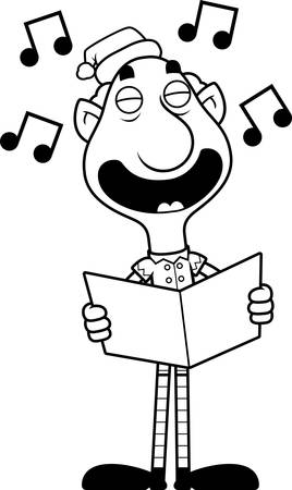 christmas carols: An illustration of a cartoon Christmas elf grandpa singing carols. Illustration