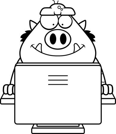 troll: A cartoon illustration of a troll using a computer.