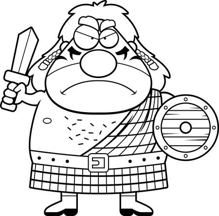 A cartoon illustration of a Celtic warrior looking angry.