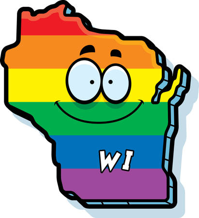 wisconsin: A cartoon illustration of the state of Wisconsin smiling with rainbow flag colors.