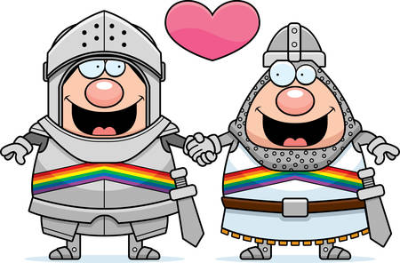 A cartoon illustration of two gay knights holding hands and in love.