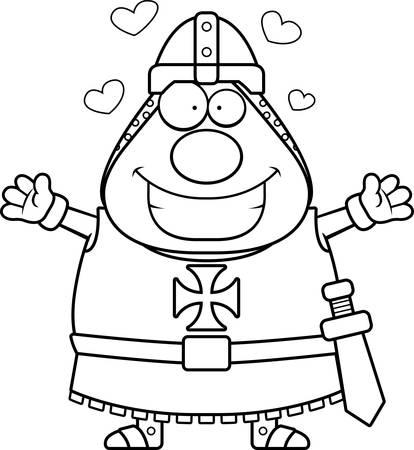 templar: A cartoon illustration of a Templar knight ready to give a hug. Illustration