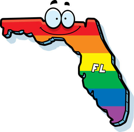 A cartoon illustration of the state of Florida smiling with rainbow flag colors.