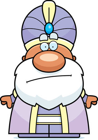 A cartoon illustration of a maharaja looking bored.