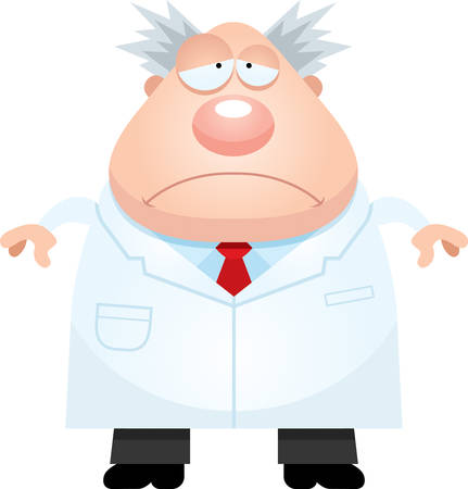 mad scientist: A cartoon illustration of a mad scientist looking sad. Illustration