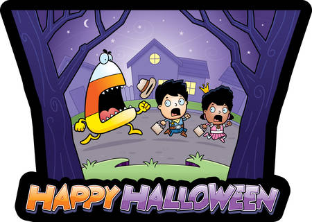 candy corn: A cartoon illustration of trick-or-treaters running away from a candy corn monster.