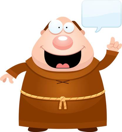 A cartoon illustration of a monk with an idea. Ilustração