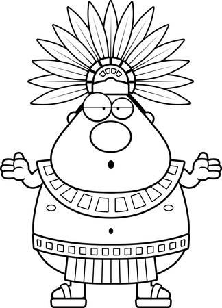 Une illustration de bande dessinée d'un roi aztèque air confus.