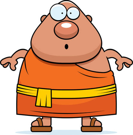 A cartoon illustration of a Buddhist monk looking surprised. Ilustração
