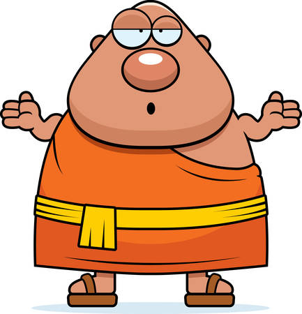 Eine Cartoonillustration eines buddhistischen Mönch sucht verwirrt. Standard-Bild - 44475212