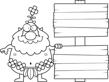 sprite: Una ilustraci�n de dibujos animados de un sprite bosque con un signo. Vectores