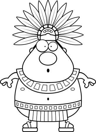 Une illustration de bande dessinée d'un roi aztèque air surpris.