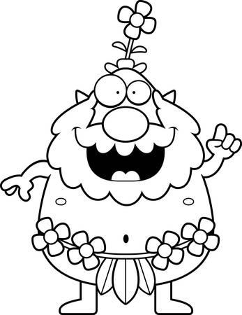 sprite: Una ilustraci�n de dibujos animados de un sprite bosque con una idea.