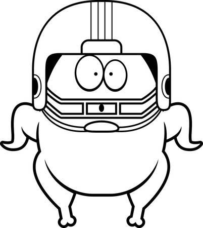 A cartoon illustration of a football turkey looking surprised.
