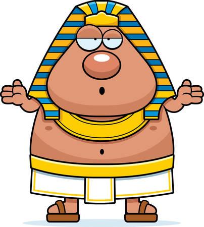 A cartoon illustration of an Egyptian Pharaoh looking confused. Иллюстрация