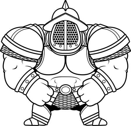 A cartoon illustration of a muscular gladiator in armor.