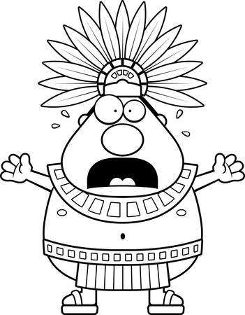 Une illustration de bande dessinée d'un roi aztèque air effrayé.