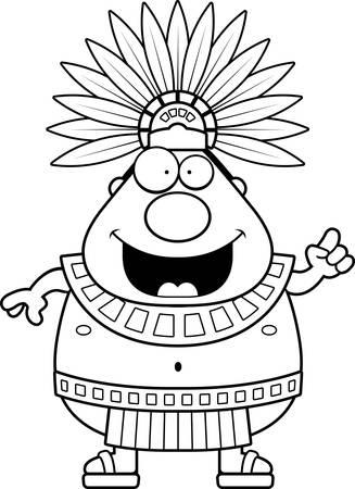 Une illustration de bande dessinée d'un roi aztèque avec une idée.