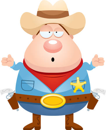 gunfighter: A cartoon illustration of a sheriff looking confused.