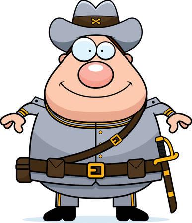 civil: A cartoon illustration of a Civil War Confederate soldier looking happy.