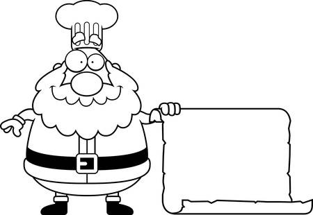 A cartoon illustration of a Santa Claus chef with a sign.