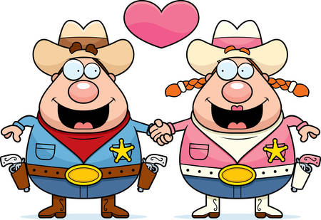cowgirl and cowboy: A cartoon illustration of a cowboy couple holding hands and in love.