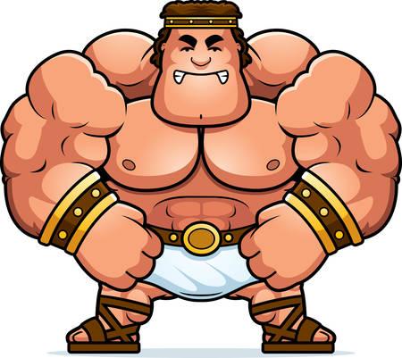 hercules: A cartoon illustration of Hercules looking angry.