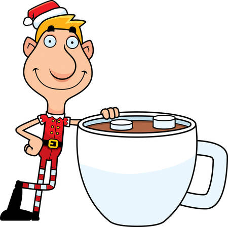 chocolate caliente: An illustration of a cartoon Christmas elf with a mug of hot chocolate.