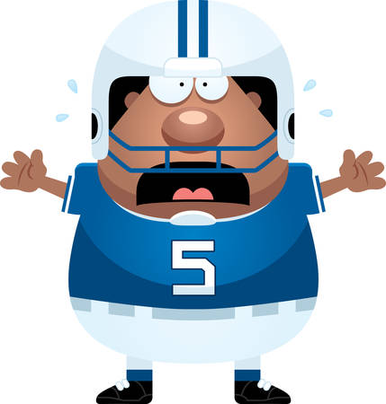 scared: A cartoon illustration of a football player looking scared.