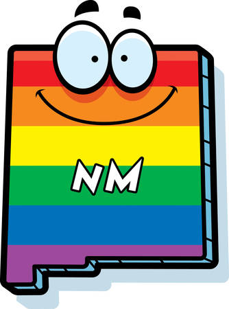 rainbow flag: A cartoon illustration of the state of New Mexico smiling with rainbow flag colors.