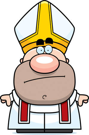 pope: A cartoon illustration of a pope looking bored.