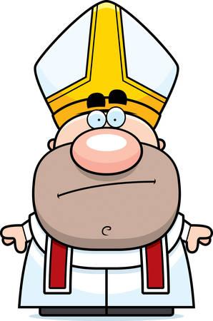 Eine Karikaturillustration eines Papstes suchen langweilen. Standard-Bild - 44475468