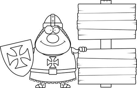 A cartoon illustration of a Templar knight with a sign. Illustration