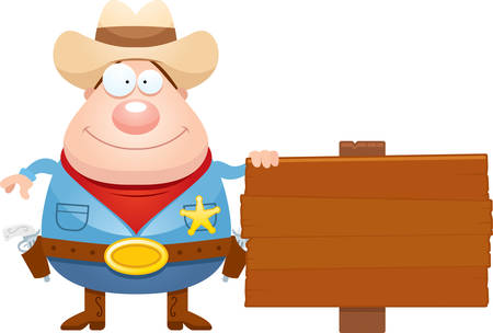 gunfighter: A cartoon illustration of a sheriff with a sign.