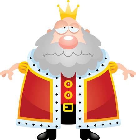 A cartoon illustration of a king looking sad.