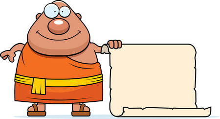 buddhist monk: A cartoon illustration of a Buddhist monk with a sign.
