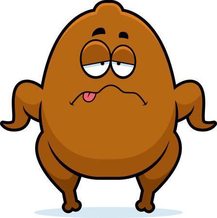 A cartoon illustration of a Thanksgiving turkey looking sick.
