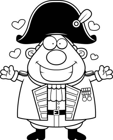 A cartoon illustration of a British Admiral ready to give a hug. Illustration