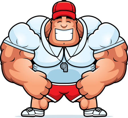 A cartoon illustration of a muscular coach smiling.